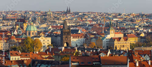 Prague - The panorama of the city with the Charles bridge on Olt Town in evening light.