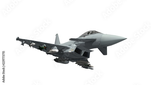 Vászonkép military fighter jet - armed military fighter jet isolated on white background