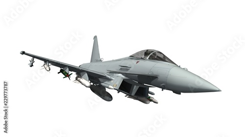 Obraz military fighter jet - armed military fighter jet isolated on white background - fototapety do salonu
