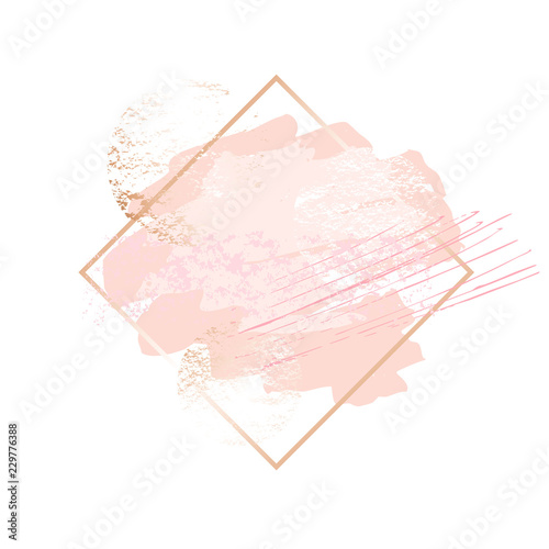 Golden pink art frames. Modern card design, brush stroke, lines, points, gold, premium brochure, flyer, invitation template. Beauty identity elegant style. Hand drawn vector. Wall mural