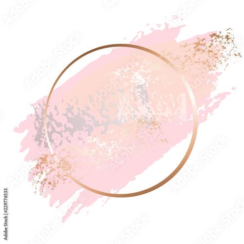 Golden Pink Art Frames Modern Card Design Brush Stroke Lines