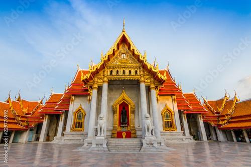 Tuinposter Bedehuis The Marble Temple , Wat Benchamabophit Dusitvanaram in Bangkok, Thailand. Unseen Thailand.