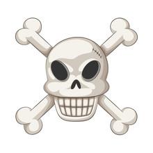 Funny Cartoon Skull And Crossbones, Vector Illustration