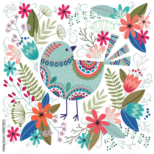 obraz PCV Art vector colorful illustration with beautiful bird and flowers. Artwork for decoration your interior and for use in your design