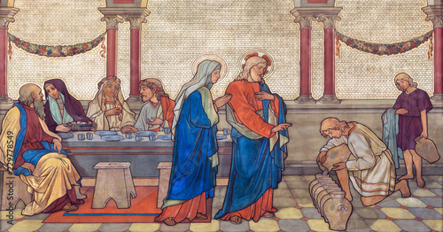 PRAGUE, CZECH REPUBLIC - OCTOBER 17, 2018: The fresco of The wedding at Cana in church kostel Svateho Cyrila Metodeje probably by Gustav Miksch and Antonin Krisan (19. cent.).