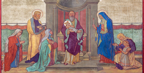 PRAGUE, CZECH REPUBLIC - OCTOBER 17, 2018: The fresco of Presentation in the Temple in church kostel Svateho Cyrila Metodeje probably by Gustav Miksch and Antonin Krisan (19. cent.).