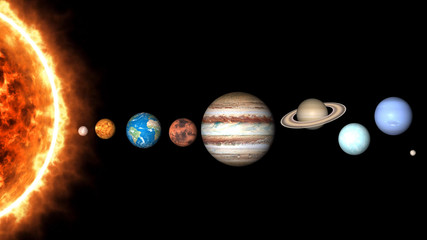 All planets of Solar System and sun. Mercury, Venus, World, Mars, Jupiter, Saturn, Neptune, Uranus, Pluto illustration.
