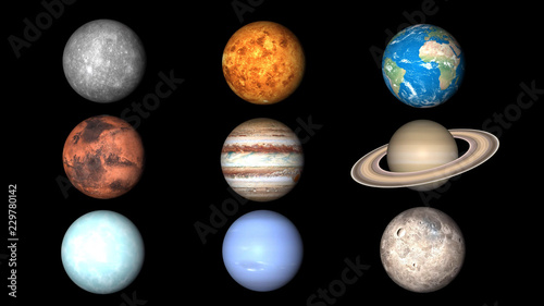 All planets of Solar System Canvas Print