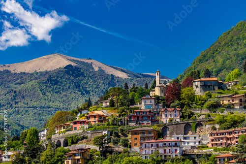View at town Argegno on Lake Como in Italy Canvas Print