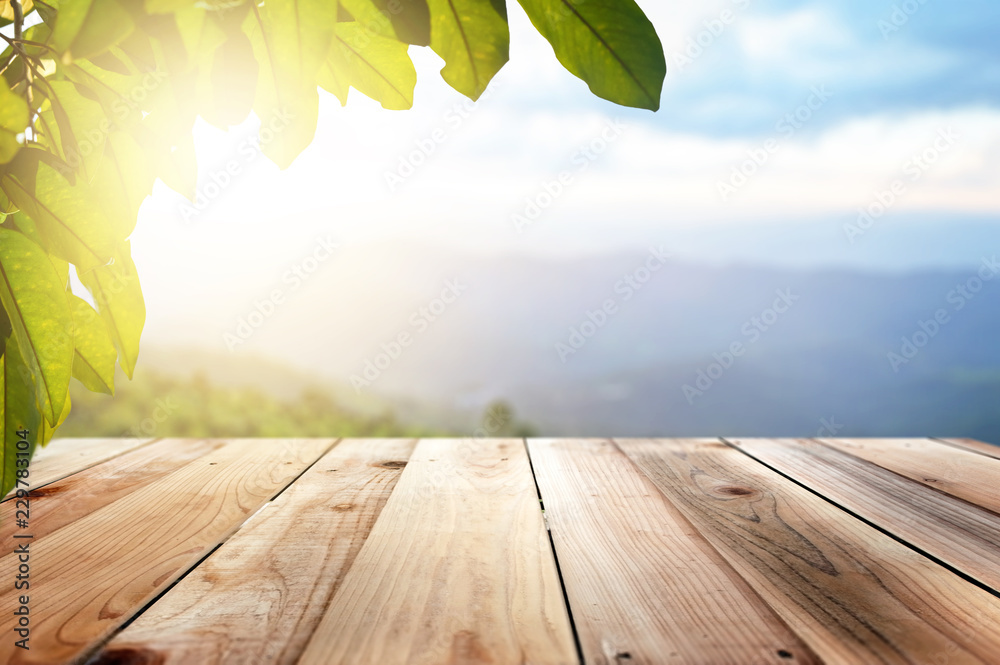 Fototapeta Wooden Brown And the background blurred foliage natural landscape and evening sun.
