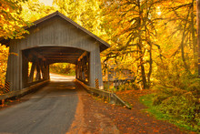 Covered Bridge With Fall Color...