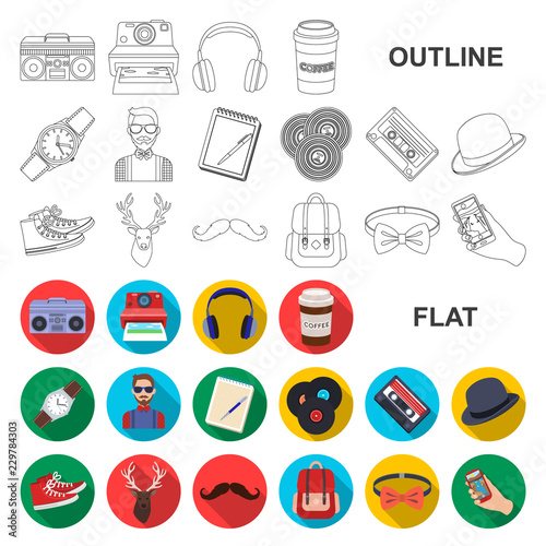 Style Hipster flat icons in set collection for design Canvas Print