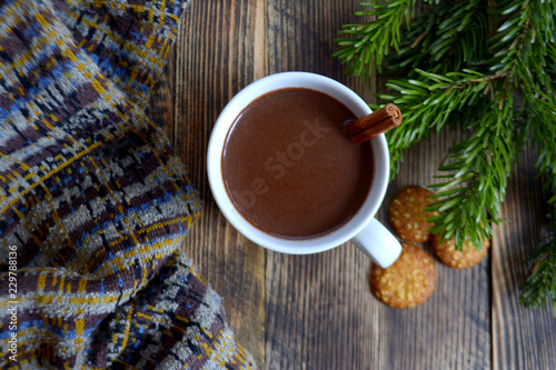 Hot chocolate or cocoa with cinnamon stick in a cup and fir branches. Winter hot drink for cold weather. New year and Christmas concept Top view