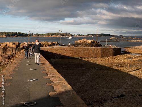 Tuinposter Poort Passagers sur un quai d'embarquement dans un port, bateau navette île