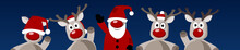 Banner Weihnachten Weihnachtsmann Rentier