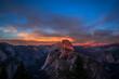 USA, California, Yosemite National Park, sunset at Glacier Point, view upon Half Dome and Yosemite Valley