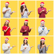 Collage of group of young people wearing christmas hat over yellow isolated background amazed and smiling to the camera while presenting with hand and pointing with finger.