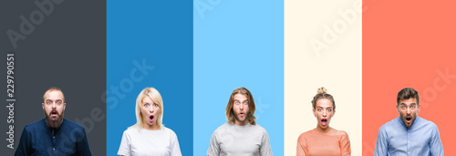 Photo Collage of casual young people over colorful stripes isolated background afraid and shocked with surprise expression, fear and excited face