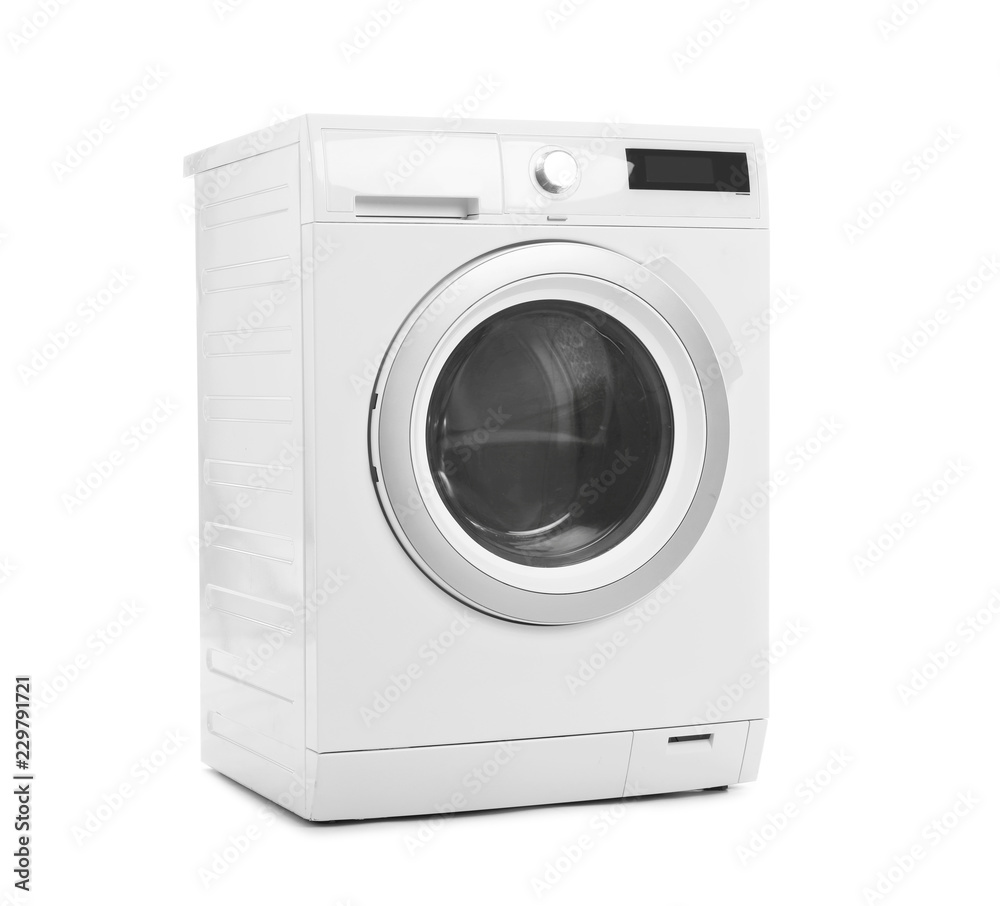 Fototapeta Modern washing machine on white background. Laundry day