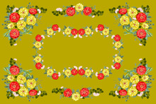 Colorful Beautiful Shawl, Scarf Print. Flowering Summer Garden Zinnia Background. Country, Cuban, Gipsy Style. Bandana, Pareo, Home Textile Design. Use For Covers, Surface, Scrapbooking, Decoupage.