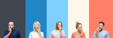 Collage Of Casual Young People Over Colorful Stripes Isolated Background Bored Yawning Tired Covering Mouth With Hand. Restless And Sleepiness.