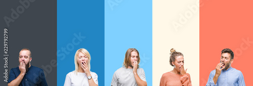 Fotografia Collage of casual young people over colorful stripes isolated background bored yawning tired covering mouth with hand