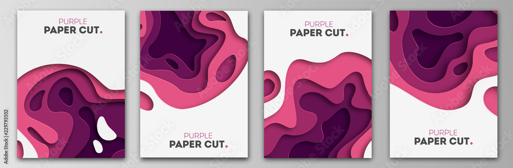 Fototapety, obrazy: Set banner templates with paper cut shapes. Bright modern abstract design. Purple. Vector Illustration.