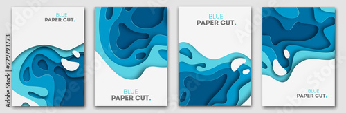 Photo Stands Abstract wave Paper cut design concept for flyers, presentations and posters. Vector abstract carving art. White and blue 3D layered vertical banners.