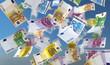 canvas print picture - 3D Illustration Geldscheine blauer Himmel mit Wolken