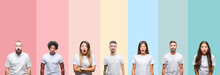 Collage Of Different Ethnics Young People Wearing White T-shirt Over Colorful Isolated Background Afraid And Shocked With Surprise Expression, Fear And Excited Face.