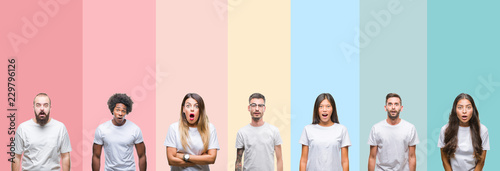 Valokuva  Collage of different ethnics young people wearing white t-shirt over colorful isolated background afraid and shocked with surprise expression, fear and excited face