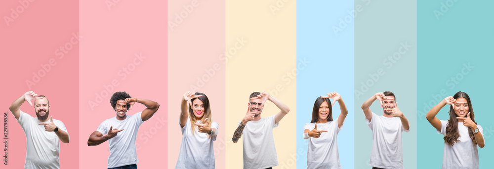 Fototapety, obrazy: Collage of different ethnics young people wearing white t-shirt over colorful isolated background smiling making frame with hands and fingers with happy face. Creativity and photography concept.