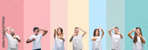 Obraz Collage of different ethnics young people wearing white t-shirt over colorful isolated background smiling making frame with hands and fingers with happy face. Creativity and photography concept. - fototapety do salonu