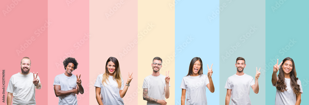 Fototapeta Collage of different ethnics young people wearing white t-shirt over colorful isolated background smiling with happy face winking at the camera doing victory sign. Number two.