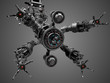 Mechanical hand or futuristic robotic arm isolated on gray background. 3D Render