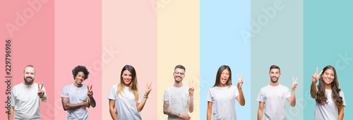 Fototapeta Collage of different ethnics young people wearing white t-shirt over colorful isolated background smiling with happy face winking at the camera doing victory sign