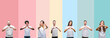 Leinwandbild Motiv Collage of different ethnics young people wearing white t-shirt over colorful isolated background smiling in love showing heart symbol and shape with hands. Romantic concept.