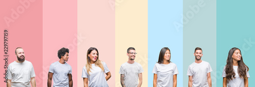 Obraz Collage of different ethnics young people wearing white t-shirt over colorful isolated background looking away to side with smile on face, natural expression. Laughing confident. - fototapety do salonu