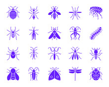Danger Insect Color Silhouette Icons Vector Set