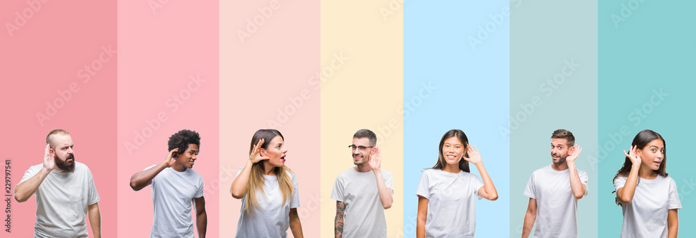 Fototapeta Collage of different ethnics young people wearing white t-shirt over colorful isolated background smiling with hand over ear listening an hearing to rumor or gossip. Deafness concept.