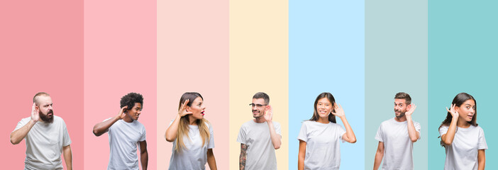Collage of different ethnics young people wearing white t-shirt over colorful isolated background smiling with hand over ear listening an hearing to rumor or gossip. Deafness concept.