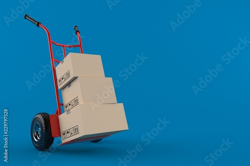 Leinwand Poster Hand truck with packages