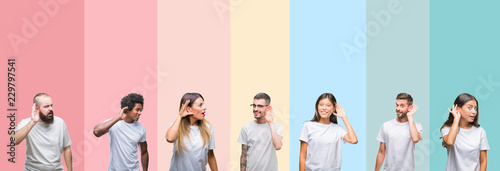 Photo  Collage of different ethnics young people wearing white t-shirt over colorful isolated background smiling with hand over ear listening an hearing to rumor or gossip