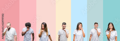 Fotomural Collage of different ethnics young people wearing white t-shirt over colorful isolated background feeling unwell and coughing as symptom for cold or bronchitis