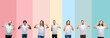 Leinwandbild Motiv Collage of different ethnics young people wearing white t-shirt over colorful isolated background smiling confident showing and pointing with fingers teeth and mouth. Health concept.