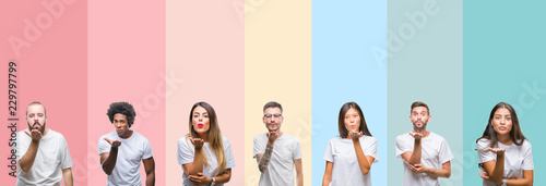 Valokuva Collage of different ethnics young people wearing white t-shirt over colorful isolated background looking at the camera blowing a kiss with hand on air being lovely and sexy