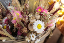 Bouquet Of Beautiful Dried Flowers Plants - White And Pink Chrysanthemums, Poppies, Wheat Spikelets In The Greek Flowers Bar.