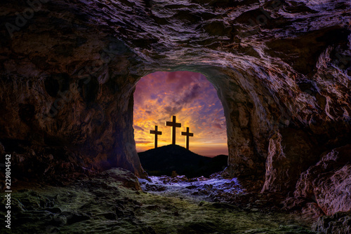 Leinwand Poster Jesus resurrection sepulcher grave cross
