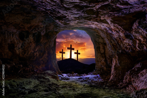 Canvas Print Jesus resurrection sepulcher grave cross