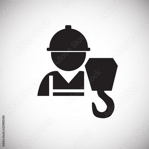 Worker crane operator on white background icon Canvas Print
